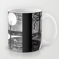 Park At Night #Mug, tonal study watercolor painting created in black, gray, white monochromatic color scheme, from Artsy Craftery Design Studio