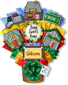 Home Sweet Home Hand Decorated Cookie Bouquet Gift BasketHouses, Street Sign, Welcome Mat