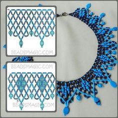 collar azul y negro, con su esquema – Schmuck Ideen Diy Necklace Patterns, Seed Bead Patterns, Beaded Jewelry Patterns, Beading Patterns, Bead Jewellery, Seed Bead Jewelry, Native Beadwork, Beaded Crafts, Bead Loom Bracelets
