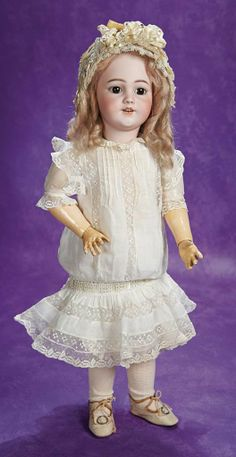 German Bisque Child, 1249, by Simon and Halbig with Wonderful Antique Costume 1100/1300
