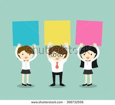 Business concept, Businessman and business women holding colorful sticky notes with green background. Vector illustration.