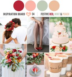 Festive Red, Mint and peach colour palette