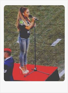 AG: Ariana singing the national anthem on September 5, 2014 for the official NFL season opener. (Seattle Seahawks)