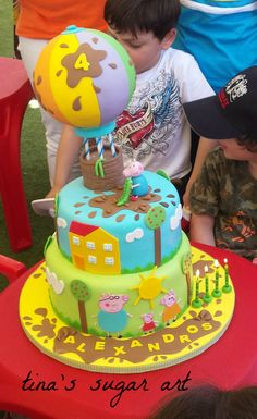 love the air balloon. I was thinking putting a popcorn ball in… 2 Year Old Birthday Cake, Peppa Pig Birthday Cake, Birthday Party Snacks, Tortas Peppa Pig, George Pig Party, Minnie Cake, Spring Desserts, Celebration Cakes, Cake Decorating