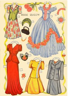 Great vintage clothing ideas for pattern designs from this paper doll page.