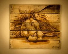 Lion painting Lion art Rustic home decor Wooden by SimplyPallets