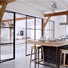 """l-e-a-b-o: """"Airy dream kitchen An open white space, wooden beams, industrial black steel windows and a lot of light - the perfect recipe for a gorgeous industrial loft-style kitchen. Via: @home_in_spiration . •••••••••••••••••••••••• #loft #loftlove..."""