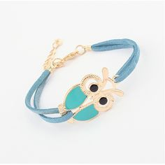 Owl Retro Bracelet with Faux Leather Band