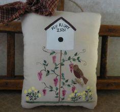 Primitive Spring Summer Pillow Folk Art by auntiemeowsprims