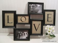 turn thrift store frames and burlap into collage wall art, design d cor, diy home crafts, repurposing upcycling, everything assembled back together with pictures added Burlap Projects, Burlap Crafts, Diy Projects, Old Picture Frames, Crafts With Picture Frames, Picture Frame Decor, Dollar Tree Crafts, Wall Collage, Wall Art
