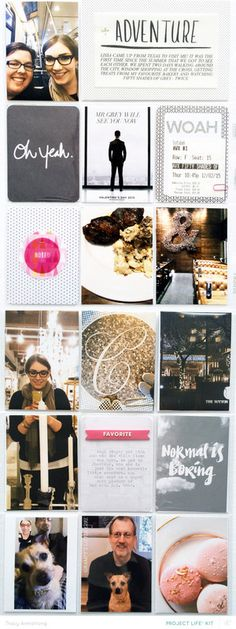 Scrapbook inspo. I don't scrap in divided pages, but like the inspiration for a grid-design on a 12x12 page.