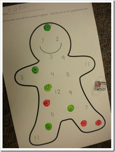 numbers 2-12. Roll two die, count the number and dob. Can make make up own die to reach the hard numbers in the teens.