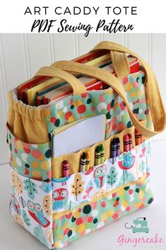 Your kids love their art and craft materials but you are tired of it being spread out all around the house?  This cute DIY sewing project is perfect for you!  Tons of pockets and lots of space for all their supplies!  And they can tote it around the house with them too!  It also travels well to take on vacation or to grandma's house!  The perfect art organizer bag that holds crayons, markers, color pencils, scissors, stickers, colors books, construction paper and more!  Sewing Pattern by…