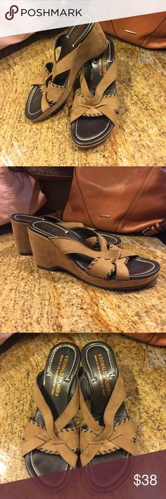"DONALD J PLINER Wedge Sandal Sz 8 ☆ Sale ☆ Tan wedge heel with black lacing detail.  Excellent condition!  1/2"" platform, 3 1/2"" heel. Size 8 Donald J. Pliner Shoes Wedges"