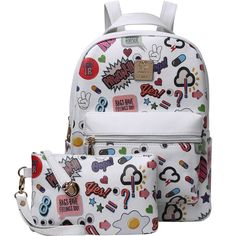 Graffiti Print Backpack With Clutch ($23) ❤ liked on Polyvore featuring bags, backpacks, white, patterned backpacks, print bags, knapsack bag, day pack backpack and white bag