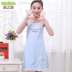 High Quality Girls Summer Nightgown Cotton Nightdress Pajamas Teenager  Fashion Bead Embroidery Sleepping Sling Dress Homewears 90c5023430ac