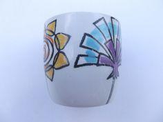 Eggcup T G Green Co Ltd Fleur Flower design Berit Ternell Cornishware, Pattern Code, Flower Designs, Wine Glass, 1960s, Green, Egg, Range, Display