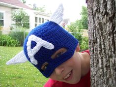 Crochet Captain America Hat free pattern!!!  Awesome and I will be making one ASAP!