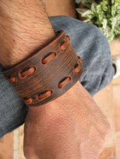 Chocolate Brown Leather Wristband Cuff with by steviebdesigns, $25.00