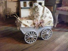 Miniature child's dolly pram by Shabbiechicminiature on Etsy