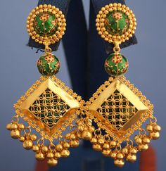 Gold Square earrings with Green enamel Gold, enamel, earrings, Ear Jewelry, India Jewelry, Gold Jewelry, Jewelry Shop, Gold Mangalsutra Designs, Gold Earrings Designs, Jewellery Showroom, Antique Necklace, Gold Necklace