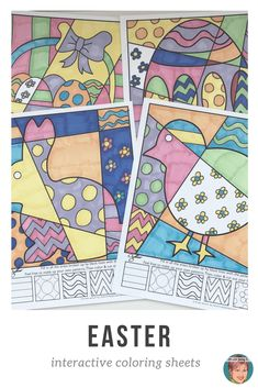 Pop art interactive coloring sheets from Art with Jenny K make for a great and creative Easter activity for kids! Fun for kids, easy for teachers! #artwithjennyk #eastercoloring #easteractivitiesforkids
