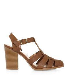 Tan Block Heel Pointed Gladiator Sandals - New Look