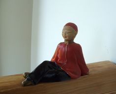 Vintage Chalkware Chinese Man in Red by lookonmytreasures on Etsy
