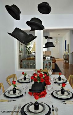 Derbys and Top Hats hang above a table celebrating the graduate with Hat's Off To You 50th Birthday Party, Man Birthday, Birthday Party Decorations, Black Tie Party, Bow Tie Party, Man Party, Party Hats, Party Centerpieces, Centrepieces