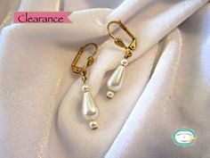 SAVE 10% use coupon code PIN10 CLEARANCE marked down from $12. #Handcrafted white glass teardrop and round pearl #earrings to go with your wedding gown or dress.  For faster shipping call for pricing!  htt... #jewelry #necklace #jewelry #jewellery #handmade #handcrafted #beads #beadwork #beading #pearls