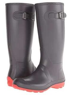 Forever Young Womens Mod Black and White Tall Rubber Rain Boots