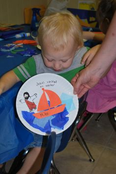 Blessings for Bible School Teachers: Jesus Walks on Water - could use handprints instead of tissue paper for water Water Crafts Preschool, Preschool Bible Lessons, Bible School Crafts, Bible Crafts For Kids, Bible Lessons For Kids, Bible Activities, Vbs Crafts, Church Crafts, Classroom Crafts