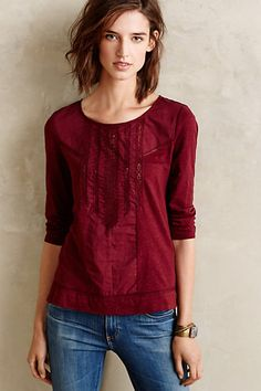 Tuxedo Ruffle Tee #anthropologie - the tuxedo ruffle elevates this tee and makes it interesting