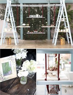 Ladder w/ food on swings. What else can you do with an old ladder??