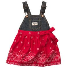 Denim Poplin Jumper - cutest baby girl dress I have ever seen.  I'm gonna try to make it out of an old pair of overalls and a bandana.  @Elaine Hwa Hwa Rohde Pobst