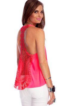 Tat Back Tank Top in Hot Pink $28 at www.tobi.com