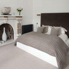 Cosy grey bedroom with headboard | Bedroom | 25 Beautiful Homes | IMAGE | Housetohome.co.uk