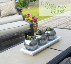 Delightfully Noted: DIY Mercury Glass Planters