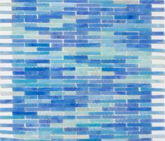 Ocean Blues Stained Glass Mosaic - hand cut linear mosaic glass tiles in gorgeous sky and periwinkle blues, amazing in a bathroom! On sale! $21.00