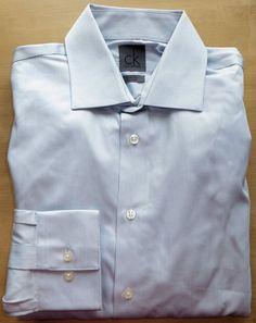 MENS 15 32/33 ck CALVIN KLEIN STEEL GRAY NON IRON SLIM FIT DRESS SHIRT NEW…