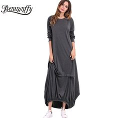 Benuynffy Cotton Long Maxi Dress Women 2017 Spring New Arrival Oversized Style Dresses Vintage Casual Plus Size Wrap Dress Q530
