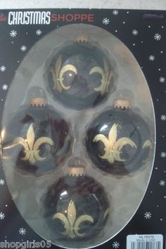 NEW!! 1- PACK OF 4 - BLACK AND GOLD FLEUR DE LIS CHRISTMAS ORNAMENTS WOULD LOOK GREAT ON YOUR TREE!! CUTE!