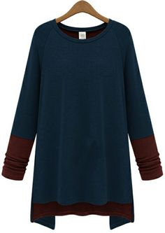 Blue Contrast Brown Long Sleeve Loose T-Shirt US$25.41