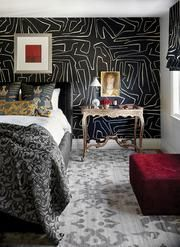 Living room designs – Home Decor Interior Designs Interior Walls, Decor Interior Design, Interior Decorating, Green Fabric, Black Fabric, Kelly Wearstler Wallpaper, Living Room Bedroom, Bedroom Decor, Kitchen Cabinets On A Budget