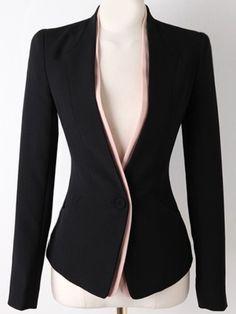 Black Long Sleeve Single Button Slim Blazer , High Quality Guarantee with Low Price!