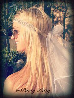 Bachelorette Veil Boho Crystal Rhinestone Headband Tiara Crown Bridal Bikini Veil Bride To Be Hen White Wedding Last Sail Before The Veil