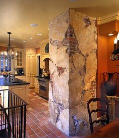 Italian plaster and faux brick. Faux work Faux brick