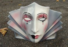 Clay Art Ceramic Face Wall Mask, Decorative Art Deco Wall Sconce, Accent Lamp on Etsy, $150.00