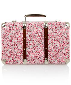 PHOEBE LIBERTY PRINT MINIATURE SUITCASE  £65.00   Quirky miniature suitcase featuring Phoebe Tana Lawn fabric exterior, a classic vintage paper lining, wood paneling detail and silvertone hardware handle, locks and trim.