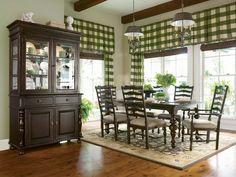 Paula Deen Dining Furniture Would Like It White Washed With Blue Check  Curtins